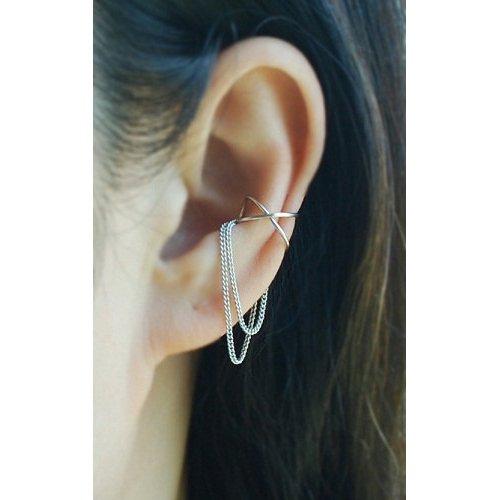 Cross X Ear Cuff con 2 catene, No Piercing cartilagine Ear Cuff, orecchio avvolgere / si prega di selezionare un'opzione.