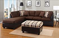 Hot Sale 2 PIECES SECTIONAL SOFAS WITH FREE ACCENT PILLOWS AND OTTOMAN