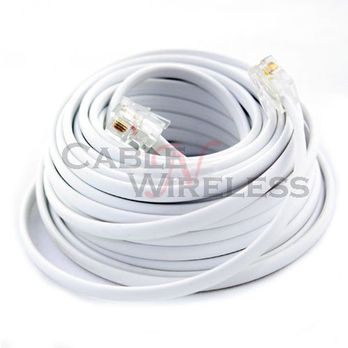 Cable N Wireless White 25 Feet Phone Line Cord Telephone Extension Cable Rj-11 Plug (Us Seller)