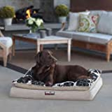 """Pillow Top Orthopedic Pet Napper Bed, Cooling Gel Increases Airflow & Cooling, Tan Black Floral Linen Cover, 36"""" X 40"""""""
