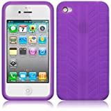 IPHONE 4 / IPHONE 4G TYRE TREAD SILICONE SKIN CASE - PURPLE PART OF THE QUBITS ACCESSORIES RANGEby Qubits