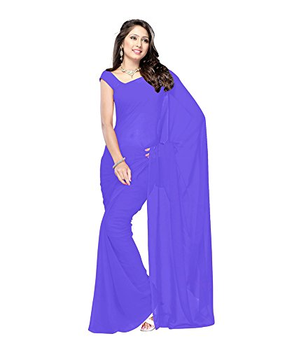 Lovely Look Latest collection of Plain Sarees in Georgette Fabric & in attractive Purple Color