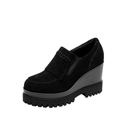 Passionow Women's New Style Tassels Waterproof Platform Ankle Shoes(5 B(M)US,black)