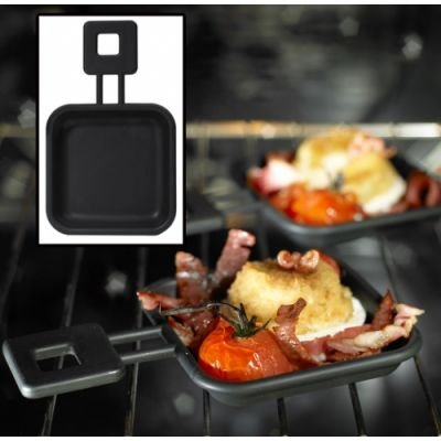 Mastrad F66600 Set of 2 Square Raclette Pans, Black