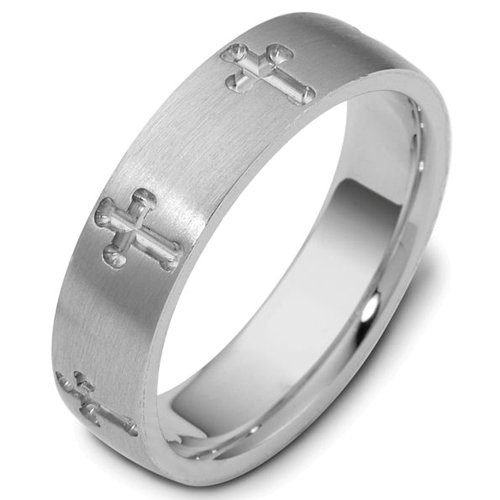 Sterling Silver, Engraved Cross 6MM Wedding Band (sz 12)