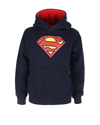 DC COMICS Felpa Cappuccio Superman Logo [Blu Navy/Rosso]