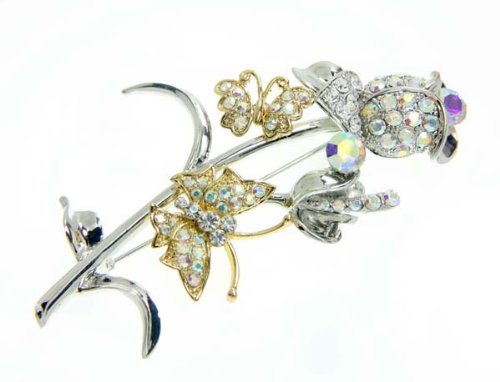 Multi Color Crystal Flower Stem with Butterfly Brooch / Pin