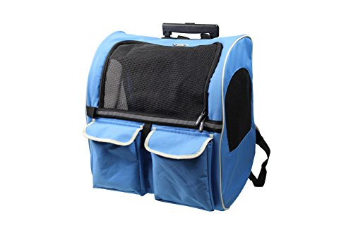 Pettom Pet Rolling Back Pack Airline Approved Dog Cat Wheel Around Luggage Bag for Pet Below 17 Pounds (Blue)