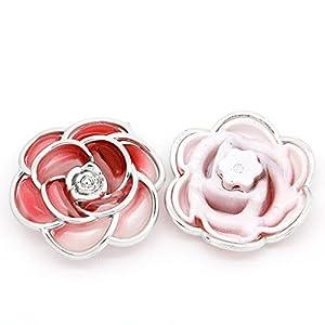 Housweety 10 Rot Acryl Blumen Perlen Beads 2 Loecher 4cm x 4.3cm