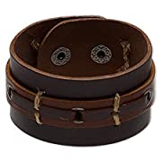 Brown Leather and Stitched Rope Men's Bracelet
