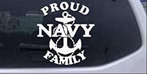 Proud Navy Anchor Family Military Car Window Wall Laptop Decal Sticker -- White 6in X 6.6in