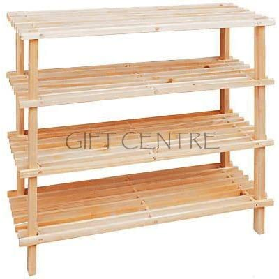 4 Tier Wooden Slatted Shoe Storage Rack