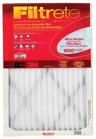 Filtrete 9801DC-6 Micro Allergen Reduction Filter 1000 Micron 25 in L X 16 in W X 1 in T - Case of 6
