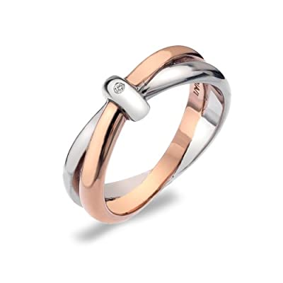 Hot Diamonds Silver and 18ct Rose Gold Vermeil Eternity Interlocking Ring