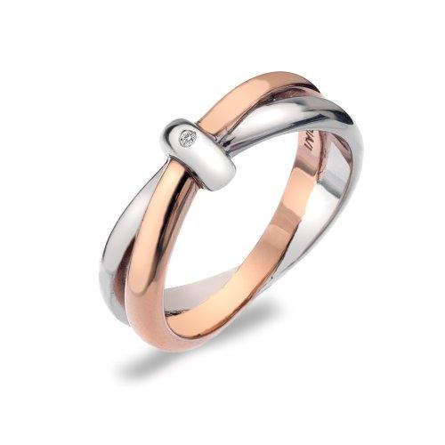 Hot Diamonds Silver and 18ct Rose Gold Vermeil Eternity Interlocking Ring