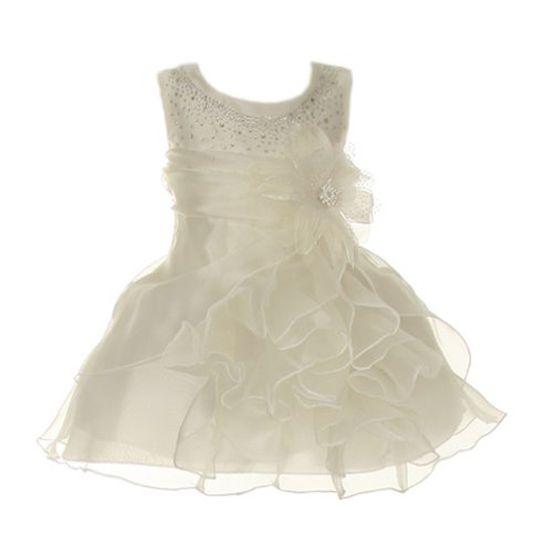 Cinderella Couture Baby-Girls Cascading Organza Dress Ivory Med 12M (B1101)