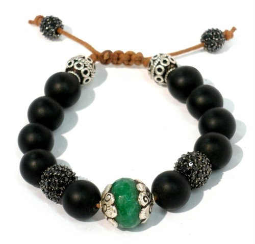 Bracelet with Original Tibetan 14mm Emerald on Sterling Silver Setting with Two 10mm Black CZ Pave Two Bali Beads on 10mm Matte Onyx with Tan Cord Macrame Lock and Two 8mm Black CZ Pave Handmade Unisex Adjustable