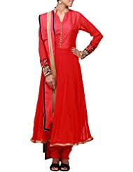 Kalki Fashion Red Anarkali Suit Featuring With Embroidered Sleeve Only On Kalki