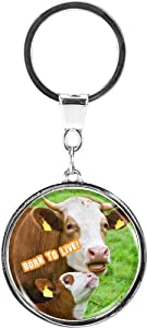 "metALUm Premium - Metal key ring ""Born to Live"" - profound, sophisticated gift with loving design with cow and calf for vegetarians, vegans and all animal lovers"