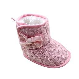 Weixinbuy Toddler Girls Fleece Woollen Fur Knitted Bowknot Snow Boot Pink 0-6M
