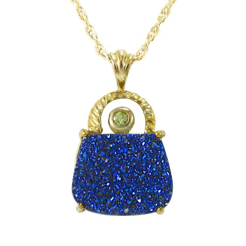 18k Gold Plated Sterling Silver Blue Drusy-Quartz and Peridot Purse Pendant Necklace, 18