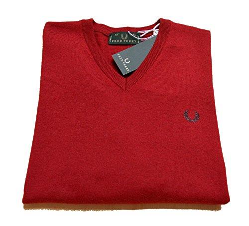 Maglia Uomo Men Fred Perry Made In Italy maglione Lana 100% Wool scollo V neck fragola (38)