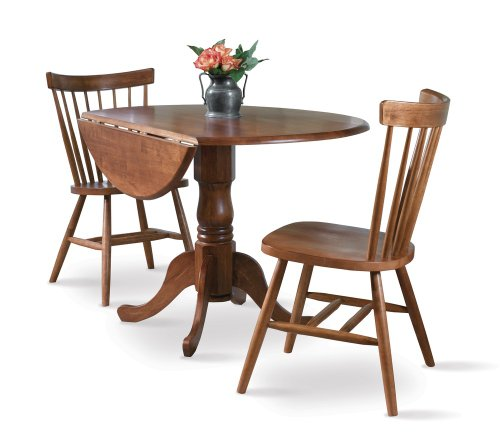 Buy Low Price International Concepts 3-Piece Set – 42″ Dual Drop Leaf Table with 2 Copenhagen Chairs in Soft Cherry – K00-42DP-C385-2 (K00-42DP-C385-2)