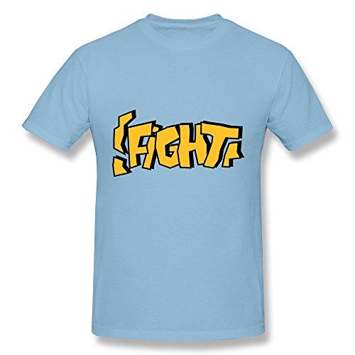 Design Fight Text Boy Crew Neck T Shirts Sky Blue front-1023692