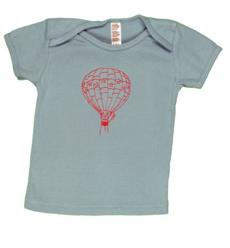 Twoowls Blue/Red Balloon Short Sleeve Tee 6-12M-100% Organic Cotton-Made In The Usa front-1023383