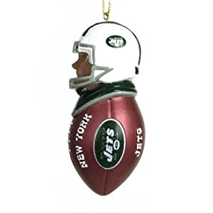 """Pack of 4 NFL NY Jets African American Football Tackler Christmas Ornaments 3"""""""