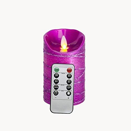 Batteriebetriebene-Beweglicher-Flamme-LED-Kerze-mit-Timer-Lila-8-x-127-CM