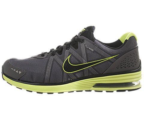 Nike Men's NIKE LUNARMX+ RUNNING SHOES 9.5 (DARK GREY/BLACK/VOLT/WHITE)