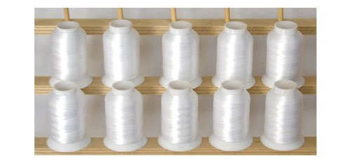 10-cone Polyester Embroidery Thread Kit - WHITE - 1100 yards - 60wt