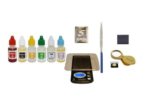 Puritest Analzyer Pro Cash For Gold Kit- Also Test Silver,Platinum- Box Of Acids Plus Scale, Accessories, And Fine Silver Sample