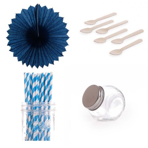 Dress My Cupcake Pinwheels Dessert Table Party Kit, Includes Candy Favor Jars With Blue Striped Straws front-499074