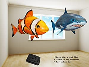 Air Ranger Remote Control Inflatable Floating Swimmer Shark & Clown Fish (2 Pcs)