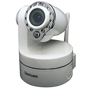 Dericam Cannon Wireless Pan/Tilt/Zoom Network IP Camera with IR Cut & 10M Night Vision (M801WW, White)