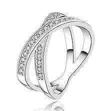 buy Sunifsnow Elegant Fashion Women Cross Diamond Round Ring 7