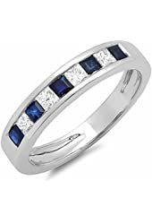 10K White Gold Princess Cut White Diamond & Blue Sapphire Ladies Anniversary Wedding Band Stackable Ring