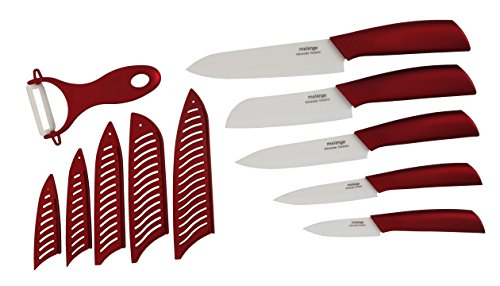 Melange 11-Piece Ceramic Knife Set with Metallic Red Handle and White Blade