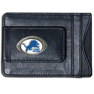 Detroit Lions Fine Leather Money Clip - Black by SiskiyouGifts