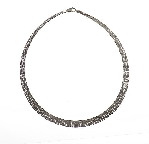 Silver 17 Inches Cleopatra Diamond Pattern Necklet