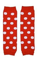 juDanzy Newborn Small Baby Leg Warmers (Newborn-15 Pounds) (Red with white Dots)