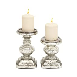 Benzara The Traditional Glass Candle Holder, Set of 2