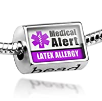 "Neonblond Beads Medical Alert Purple ""Latex Allergy"" - Fits Pandora Charm Bracelet by NEONBLOND Jewelry & Accessories"