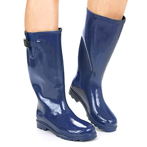 twisted womens drizzy tall cute rubber rain boots blue
