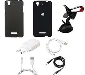 NIROSHA Cover Case Charger USB Cable Mobile Holder Combo for YU Yureka Combo