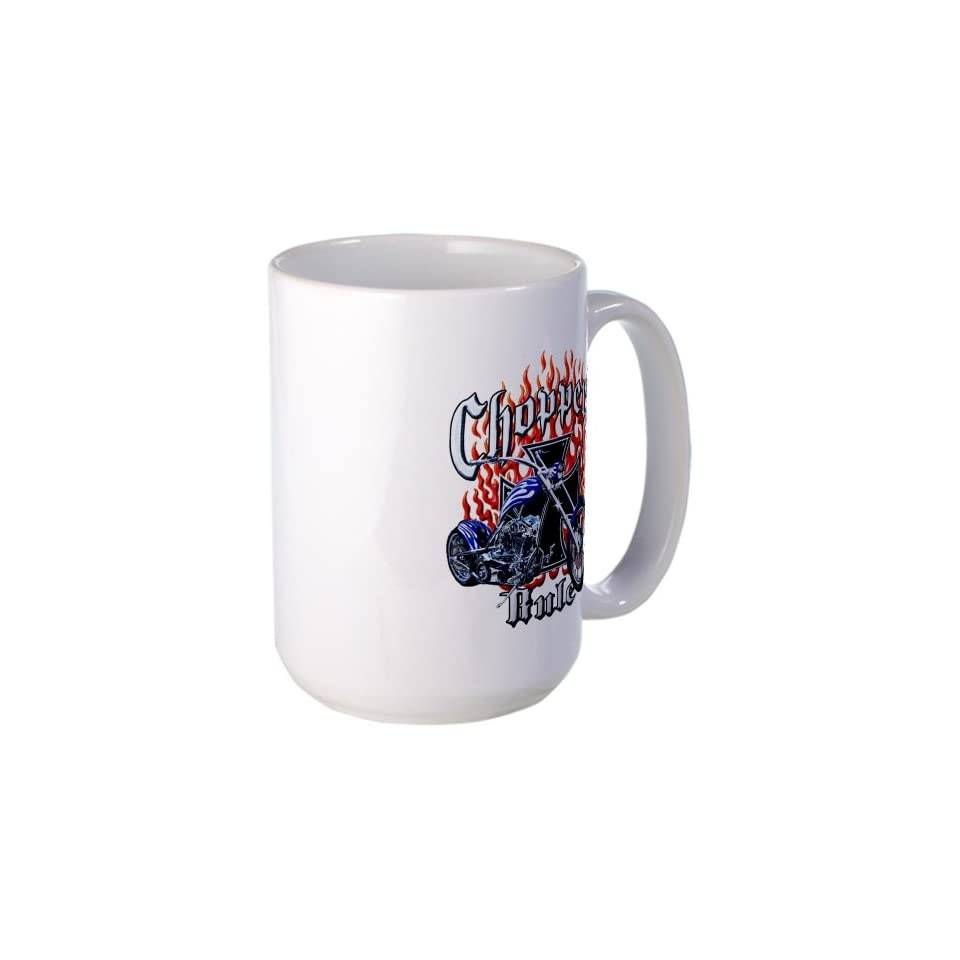 Large Mug Coffee Drink Cup Choppers Rule Flaming Motorcycle and Iron Cross