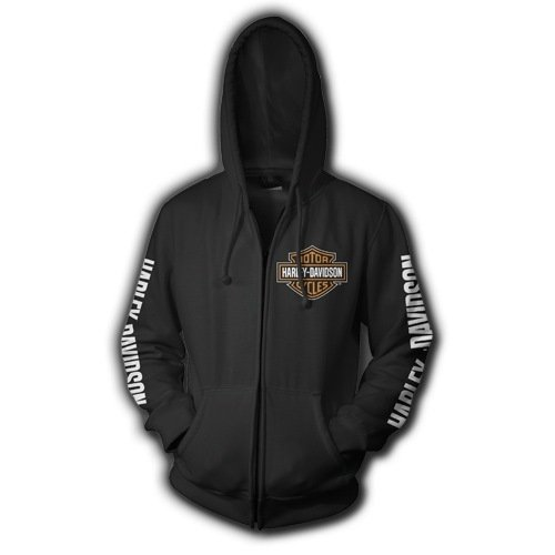Harley-Davidson Men's Orange Bar & Shield Zip up Black Sweatshirt. 30290043