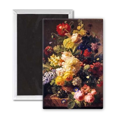 Cheap Flowers in a vase on a marble console table,.. – 3×2 inch Fridge Magnet – large magnetic button – Magnet (B007HWQW2O)